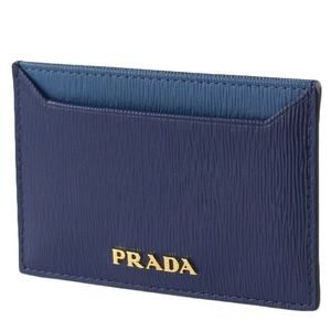 Prada Two Tone Blue Card Holder Wallet